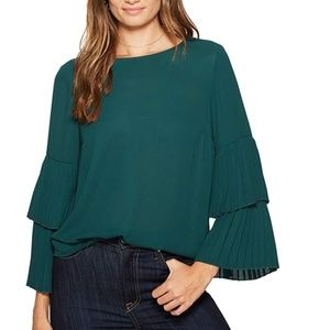 1.State Pleated Sleeve Blouse Emerald Green